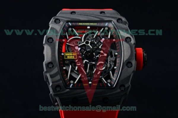 1:1 Richard Mille RM 35-02 RAFAEL NADA Miyota 9015 Skeleton Dial with Black PVD Case Red Rubber Strap RM 35-02
